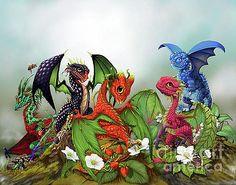 FOF Dragon Digital Art - Mixed Berries Dragons by Stanley Morrison Little Dragon, Baby Dragon, Magical Creatures, Fantasy Creatures, Fantasy Dragon, Fantasy Art, Dragon Artwork, Dragon Print, Dragon Pictures