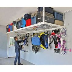 "Garage Storage Rack Overhead Steel 2 48"" Sections Organization System Hooks…"
