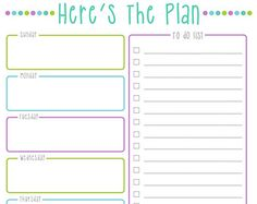 Here's The Plan Weekly To Do List: Cool Colors