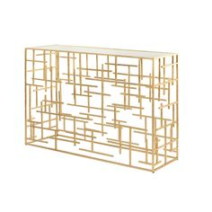 Jacob Gold Leaf Console Table with Mirrored Top by Worlds Away JACOB G