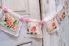 Pink rose garland shabby chic postcard style with lace doilies wall banner home decor. Shabby Chic Crafts, Shabby Chic Pink, Shabby Chic Cottage, Shabby Chic Homes, Shabby Chic Decor, Cottage Wallpaper, Rag Garland, Lace Doilies, Rose Cottage