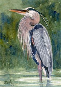 blue heron watercolor art | Great Blue Heron - Watercolor Painting