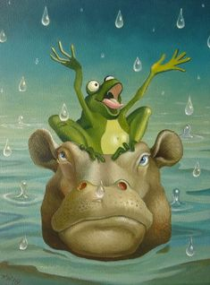 Frank Warmerdam - singing in the rain Rain Cartoon, Frog Illustration, Frog Pictures, Frog Art, Singing In The Rain, Cute Frogs, Frog And Toad, Rhinoceros, Weird Art