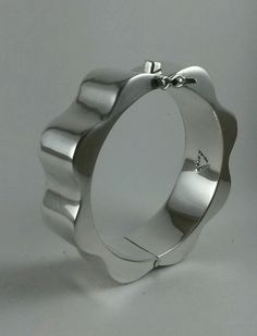 TAXCO Mexico Sterling Silver 925 Modernist Wavy Hinged Bracelet #Taxco #Hinged