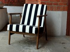 Fotel prl pasy czarno białe - rokko-stylowa-odnowa - Kanapy i fotele