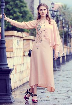 Party Wear Kurti Embroidered Fancy Fabric in Beige Kurta Designs Women, Kurti Neck Designs, Kurti Designs Party Wear, Fancy Kurti, Sleeves Designs For Dresses, Kurti Patterns, Indian Party Wear, Kurti Collection, Party Wear Dresses