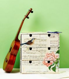 Take a look at our decoupage covered music chest from Issue 6. Update tired-looking storage with sheet music and add vintage-style birds, flowers and pretties to give splashes of colour. Pitch perfect.