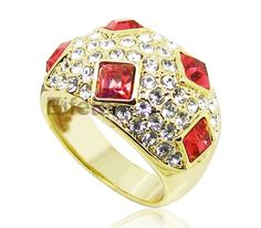 Dazzling charming gold plated promise rings covered with ruby & promise rings in middle