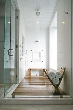 Contemporary Master Bathroom with Rain shower head, Rain shower, Handheld showerhead, Custom teak shower floor