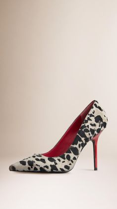 Point-Toe Animal Print Calfskin Pumps | Burberry