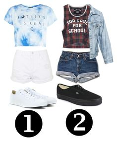 """""""Which outfit?"""" by josie2015 ❤ liked on Polyvore featuring Filles à papa, Faustine Steinmetz, Converse, Vans, Topshop and josie2015collections"""