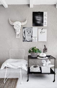 Light Grey Wall. Skull. Posters. Wire Chair.