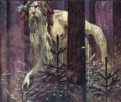 Ivan Bilibin, 1906. The Leshy or Lesovik is a male woodland spirit in Slavic mythology who protects wild animals and forests