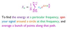 The fourier transform, explained in one color-coded sentence.