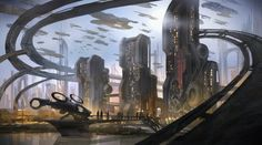 Futuristic scifi alien city