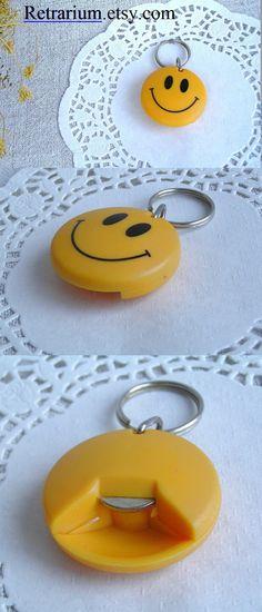 Keychain Bottle Opener Smile / Vintage Collectible Opener / Positive Funny Yellow Plastic Bottle Opener / Keychain Tool / Bottle Accessories #smile #keychain #classic #vintage