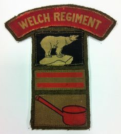 WW2 Welch Regiment Combination Formation Sign. 4th Battalion (Sospan) Welch Regiment, Combination Formation Sign, Sospan / Saucepan / Sauce Pan, 21st Army Group, 49th (West Riding Division), 4th Battalion The Royal Welch TA, B Company.