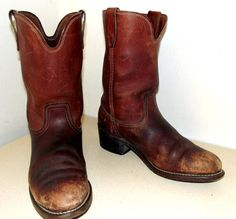 Nicely Distressed and broken in Cowboy Boots by honeyblossomstudio