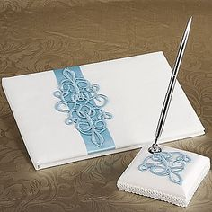 Teal Scroll Wedding Guest Book And Pen Set In White Satin – AUD $ 30.94