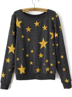 Shop Grey Long Sleeve Stars Print Sweatshirt online. Sheinside offers Grey Long Sleeve Stars Print Sweatshirt & more to fit your fashionable needs. Free Shipping Worldwide!