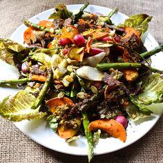 Roasted Sweet Potato Asparagus & Radish Salad