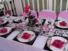 """Photo 1 of 16: Hot pink,black and white. / Baby Shower/Sip & See """"Welcome Princess Julia"""" 