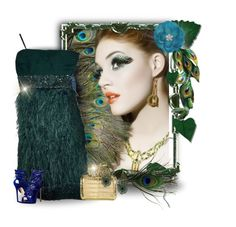 """""""Peacock Feathers"""" by majezy ❤ liked on Polyvore featuring Sue Wong, Nancy Gonzalez, Giuseppe Zanotti, Kenneth Jay Lane, GREEN, dress, dresses, feathers and fashionset"""