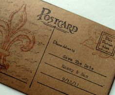 custom French wedding save the date postcard, Fleur De Lis Hand Typed, vintage inspired, set 10. $30.00, via Etsy.