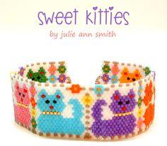 SWEET KITTIES Bracelet Pattern | Bead-Patterns.com