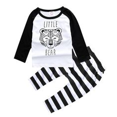 Black and White Little Bear Baby Set