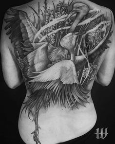 Blue crane cover up Blue Grey, Black And Grey, Ink Instagram, Grey Scale, Black Ink Tattoos, Back Pieces, Crane, Photo And Video, Cover