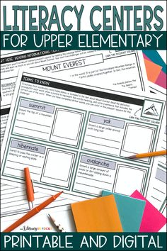 Printable & Digital Literacy Centers for Upper Elementary and Middle School Students