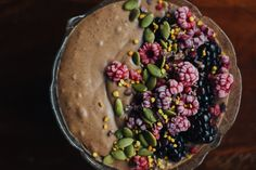 It seems as though fall is finally arriving. With the last few days reaching above twenty degrees (Celsius that is) it has been an unusually hot October. Bee Pollen, Cacao Nibs, Almond Butter, Wisteria, Coconut Milk, Acai Bowl, Cocoa, Avocado, Chips