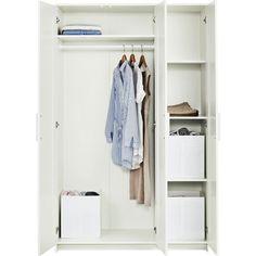 IKEA BRIMNES Wardrobe with 3 doors, white ($199) ❤ liked on Polyvore featuring home, furniture, storage & shelves, armoires, interior, closet, storage, 3 door wardrobe, white storage shelf and door panel