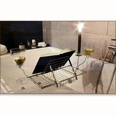 Bathtub caddy with bookend, candleholder and two glass holders