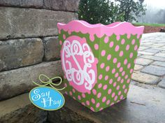 Hand-painted Monogram Wastebasket. with pink & green polka dots to match bedding. In love with this <3