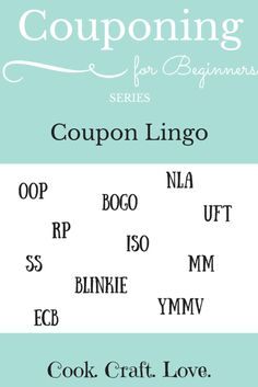 Couponing for Beginners Series: Coupon Lingo | cookcraftlove.com
