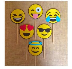 Emojis cupcake toppers  Emojis party  Emoji by 2inspiredcrafters