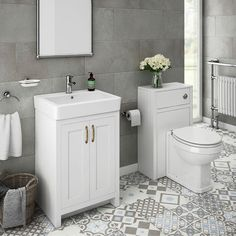 SHOP the Chatsworth Traditional White Sink Vanity Unit + Toilet Package at Victorian Plumbing UK Grey Vanity Unit, Sink Vanity Unit, Bathroom Vanity Units, Bathroom Furniture, Sink Units, Small Bathroom Vanities, Bathroom Taps, Gold Bathroom, Vanity Cabinet