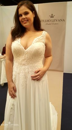 Plus size wedding gown with illusion neckline and chiffon skirt. Chloe. Studio Levana