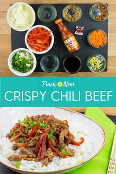 Crispy Chilli Beef - Pinch Of Nom - Food: Veggie tables Chilli Beef Recipe, Crispy Chilli Beef, Healthy Eating Tips, Good Healthy Recipes, Healthy Dinners, Healthy Food, Yummy Food, Asian Recipes, Beef Recipes