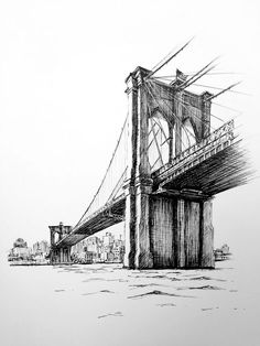 In this class, you'll learn how to draw Brooklyn Bridge, as part of the iconic New York cityscape with fine liner pens. In this class, you'll learn how to draw Brooklyn Bridge, as part of the iconic New York cityscape with fine liner pens. Cityscape Drawing, City Drawing, Cityscape Art, Drawing Hair, Drawing Faces, Drawing Tips, Building Drawing, Building Sketch, Architecture Drawing Sketchbooks