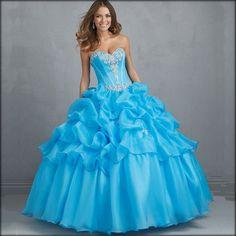 imagenes de vestidos de xv años color azul turquesa