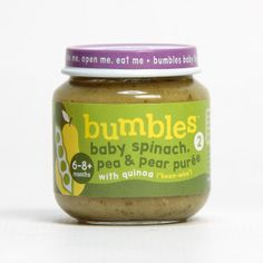 Bumbles™ Baby Food Baby Spinach, Pea and Pear Purée with Quinoa on bumbles.co.za Baby Food Recipes, Food Baby, Food Branding, Gerber Baby, Baby Spinach, Quinoa, Salsa, Eat
