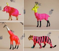 More plastic animal craft inspiration! Enjoy. #neon