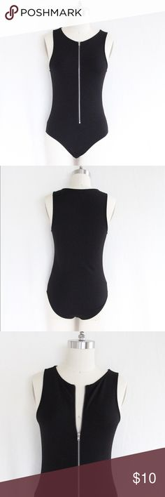 "Forever 21 Black Zip Bodysuit This bodysuit is super cute with jeans or a summer skirt! Zipper is about 14.5."" Snap closure. Worn only once. Excellent condition! Forever 21 Other"