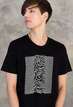 Pulsar Artwork as used by Joy Division on Unknown Pleasures T Shirt Minimalist Geometric Print Graphic Screen Printed Men's Women's Tee Top
