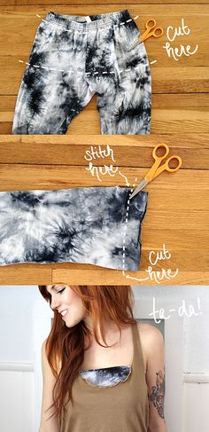 Bandeau from outdated leggings. Junk enterprise might result in fascinating outcomes - Refashion Old Clothes, Sewing Clothes, Thrift Store Diy Clothes, Look Fashion, Diy Fashion, Fashion Beauty, Diy Kleidung, Diy Mode, Do It Yourself Fashion