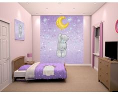 The original Me-to-you blue nosed bear wall mural! The lovable grey bear is floating high in the sky with a gold moon shaped balloon. Available to order at www.middeltonwood.co.uk