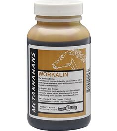 McTarnahans Workalin (8 oz.) - A rubefacient counter irritant with mild blistering properties that aids in the temporary relief of minor stiffness and soreness caused by overexertion. Like all of Jacks products, its 100% guaranteed and veterinarian recommended.